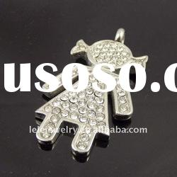fashion diamond stainless steel custom jewelry with lovely girl charm