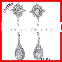 fashion magnetic long drop handmade korea white zircon earrings