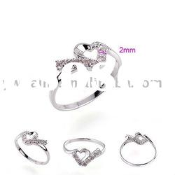 fashion platinum plated copper ring with stone 190320