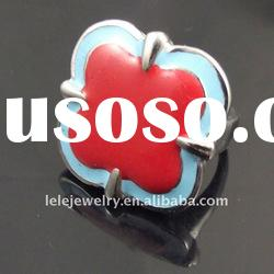 fashion red stainless steel rings jewelley with flower designs