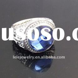 fashion stainless steel blue crystal ring