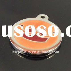 fashion stainless steel orange plated imperial crown round pendant jewelry