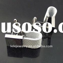 fashion white stainless steel cufflink sets with leather designs