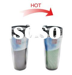 gift promotional and advertisement plastic color changing magic mug