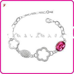 hot sale plating silver crystal flower shape bracelet accessory(B100961)