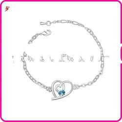 hot sale silver alloy crystal heart with lobster clasp bracelets(B100996)