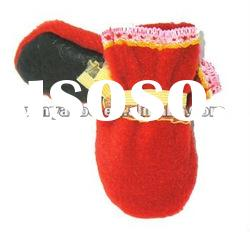 hot selling good quality pu dog pet shoes 4 pcs one pair red color