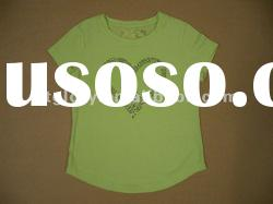 ladies' short sleeve T-shirt with foil print & sequins