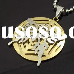 stainless steel gold plated pendant necklace with butterfly design