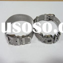 stainless steel watch band bracelet, slide letter charm wristband