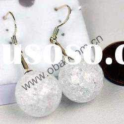 wholesale white crackle crystal fashion earrings