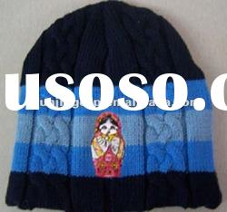 100% Acrylic Knitted Beanie Embroidery winter hats caps