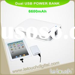 6600mah dual USB mobile charger for Apple IPAD(with LED flashlight)