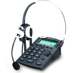Call center telephone, noise canceling headset