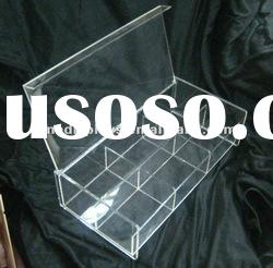 Clear Acrylic Divided Box with Hinged Lid (AD-A-0121)