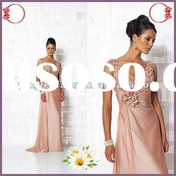 Custom Made 2012 Satin Applique Ruffle Mother Of The Bride dresses lace light pink