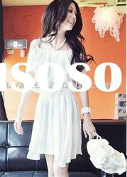 Elegant double flouncing design white chiffon shoulder-straps fashion dress FY2630