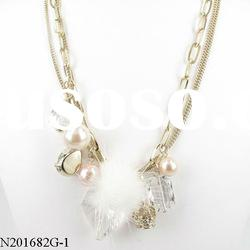 Exquisite elegant white pearl jewelry pendant necklace with white crystals and yellow fur