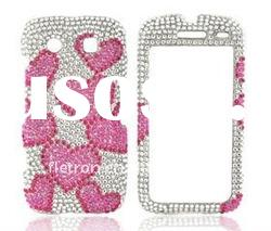 Hot Pink Hearts on Silver Gems Bling Hard Plastic Case For Blackberry Torch 9850