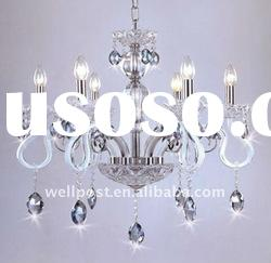 Modern White Glass Arms Crystal Ceiling Light