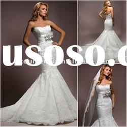 OMY10 Beautiful Mermaid Lace Applique Wedding Dress