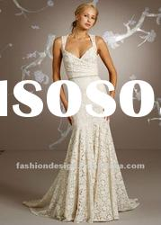 PT085 2012 Ivory Cotton lace Charmeuse Sweetheart Neckline Sleeveless Floor-length wedding dress