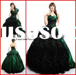 PYN2163 2012 Green Glamorous Strapless Satin Ball Gown prom quinceanera dresses
