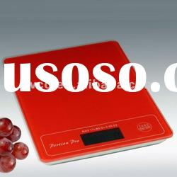 Portion Pro Durable Digital Kitchen Scale w/Tempered Glass Top - Red