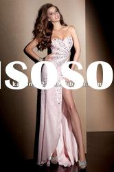Sparkle Beaded Fitted Long Side Front Slit Strapless Prom Dresses