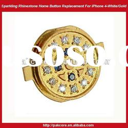 Sparkling Home Button Replacement For iPhone 4-White/Gold