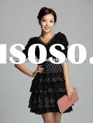 Woman Elegant Short Sleeve Beads Collar Belted Printed Pleated Dress 06121030
