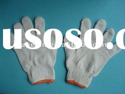 bleached white knitted cotton work gloves