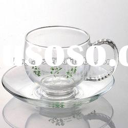 crystal mouth blown double wall glass ice-cream cup
