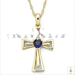 fashion cross design gold plated alloy pendant necklace with stone 121068