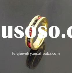 fashion gold edge stainless steel rings jewellery with red mix black crystal