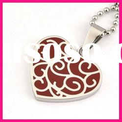fashion lovely heart shaped red epoxy resin pendant ball chain necklace
