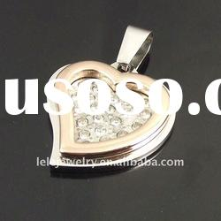 fashion rose gold plated stainless steel diamond pendant set designs popular in Europe and America