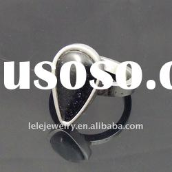 fashion stainless steel big stone ring designs