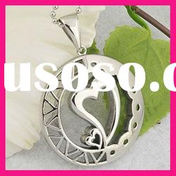 fashion stainless steel heart pendant womens ball chain necklace