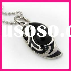 fashion stainless steel large black stone pendants necklace with ball chain