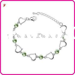 hot sale silver alloy crystal heart shape bracelets(B101031)