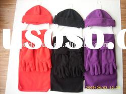 teenager's polyester winter polar fleece scarf /gloves set