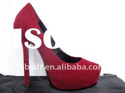 Classy pure red leather high heel women shoes