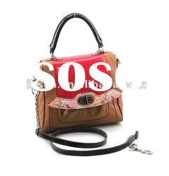 Fashion Box Handbag with a Touch of Country Look Flowery Pattern
