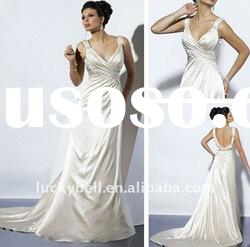 Hot sale New Spaghetti Strap Catheral Wedding dress
