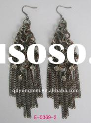 Hot selling fashion costume jewelry silver and bronze plated long chains crystal stone earrings