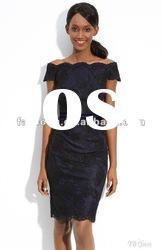 New arrival off shoulder sheath lace evening dress