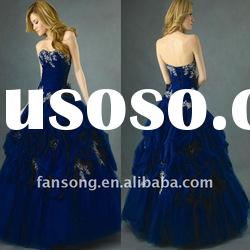 New arrival strapless appliqued ball gown organza prom dress