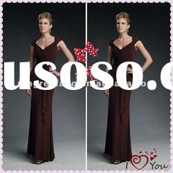 Real Sample Coffee Off-Shoulder Chiffon Ruffle Unique Mother Of Bride Dresses 2011