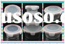 Round Glass food container with pp lid,colored silicone ring